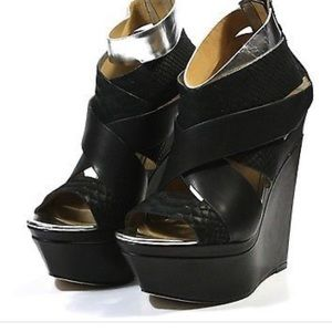 L.A.M.B. Leather Wedge Platforms